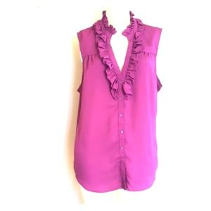 New York & Company XL ruffle tank in purple